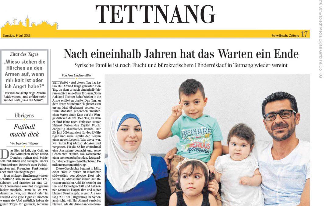 Aus der »Schwäbischen«: Nach eineinhalb Jahren hat das Warten ein Ende