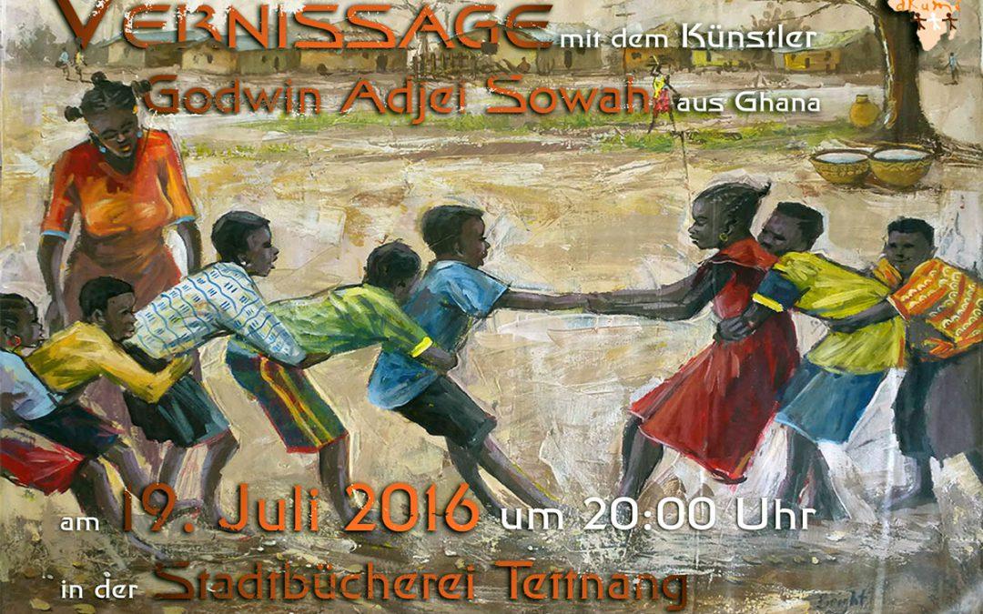 Vernissage mit Künstler aus Ghana am 19.07.16 in der Stadtbücherei Tettnang