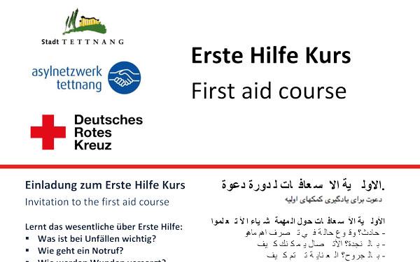 Einladung zum Erste Hilfe Kurs – Invitation to the first aid course