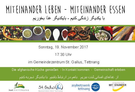 Miteinander leben – Miteinander Essen: Afghanischer Abend mit Essen am 19. 11.17 um 17:30 Uhr